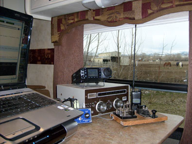 The computer is running Ham Radio Deluxe and Digital Master 780 (HRD/DM780).